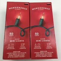 Wondership 100 Clear Mini String Lights 2 Sets 50 White Christmas Green Wire