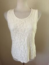Talbots Petite Scoop Neck Lace Top Size LP Ivory 70% Rayon/30% Lyocell