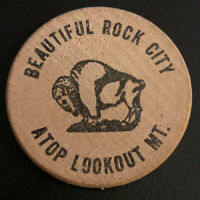 Rock City Georgia GA Lookout Mountain Vintage Wooden Nickel Souvenir Token 1960s