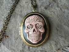 HAND PAINTED CAMEO LOCKET - SKULL, MEXICAN, SUGAR SKULL, DAY OF THE DEAD, GOTHIC