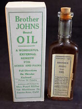 ANTIQUE BROTHER JOHN'S OIL 1oz UNOPENED Apothecary Bottle Original Box & Flyer