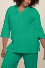 Roamans Plus Medium 14/16 Green 3/4 Sleeves Embroidered Beautiful Top New