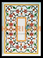 """18""""x24'' Marble Coffee Table Top Floral Marquetry Inlay Garden Decorative W440"""
