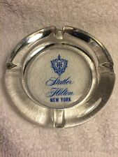 Vintage Statler Hilton New York Glass Ashtray