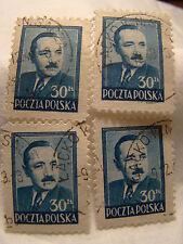 Poland Stamp 1948 Scott 443 A154 Blue 30 Zt Set of 4