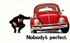 "Old Print. Red Volkswagen Beetle ""Nobody's perfect"""