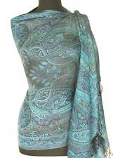Shades of Blue Silk, Jamawar, Shawl with Black.  Reversible, Paisley Jamavar