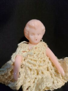 Vintage Pink Celluloid or Plastic? Girl Dollhouse Doll Handmade ClothingShoes