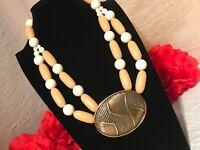 TRIFARI 50's Lucite Pale Bead Brass Medallion Pendant Necklace
