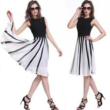 Plus Size Striped Sleeveless Cocktail Dresses for Women