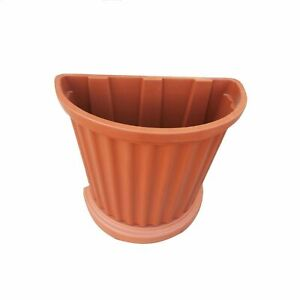 Vaso a parete plastica marrone muro mezzaluna fiori piante esterno giardino h 50