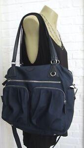 MZ WALLACE Navy M/L Roxy Nylon Bag Leather Handles Removable Strap Flash Sale
