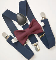 Kids Boys Mens Navy Blue Suspenders & Dark Wine Bow tie Infant - ADULT SET