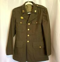 Vintage Miltary Army Green Wool Blazer Jacket Officers Uniform Coat Sergeant