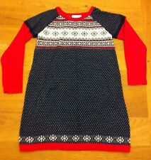 Hanna Andersson Sweater Dress 110  Sizes 5-6 Red Blue Snowflakes EUC