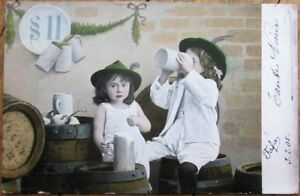 Beer Drinking Young Girls / Children 1905 Postcard - Drunk