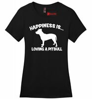 Happiness Is Loving A Pitbull Ladies T Shirt Bully Pitt Lover Dog Gift Tee Z4