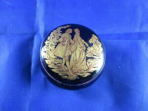 RAR LIMOGES CASTEL FRANCE Porzellan COBALT BOX verliebtes Paar VINTAGE 22K GOLD