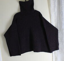 "NWT Eskandar O/S PURPLE Wool Cashmere Tweed Monk Turtleneck Boxy 25""Long Sweater"