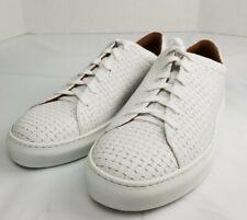 Aquatalia Alaric White Embossed Leather Sneakers Mens 11.5 Made in Italy