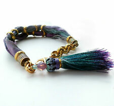 Vintage Etched Brass and Habotai Silk Ombre Tassel Bracelet