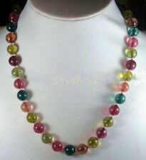 8mm Multicolor Tourmaline Gemstone Round Beads Necklaces 18'' AAA