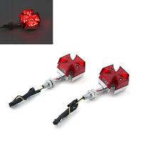 2x Custom Red Maltese Cross LED Clignotante Light Pour Motorcycle