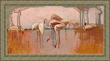 Flamingoes by Sydney Long 84cm x 45.5cm Framed Art Ready to Hang Ornate Silver