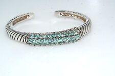 Blue Topaz Gemstone Sterling Silver Hinged Cuff Bracelet