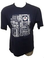 Vintage Delta Airlines Locations Shirt - XL - Navy