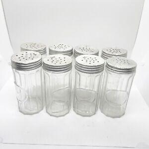 8 Vintage Hoosier Cabinet Antique Glass Spice Jars Canisters Zinc Twist lids