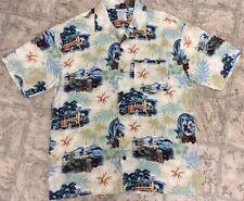 Disneyland Mens S Hawaiian Camp Shirt Mickey Mouse Surfing Beach Woody Wagon
