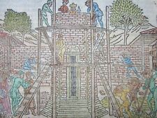 More details for giacomo filippo foresti, tower of babel, rare woodcut prints c.1490, incunabula