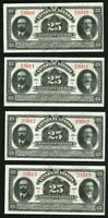 Currency 1915 Sonora State Mexico Four 25 Centavos Banknotes Consecutive Numbers