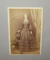 Old Antique Vtg 1860s CDV Photograph Civil War Era Young Woman Standing Nice