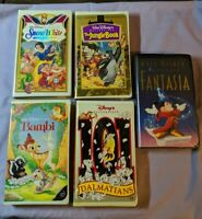 Walt Disney Animated Movies VHS Lot Clamp Shell Fantasia Bambi Dalmatians & More