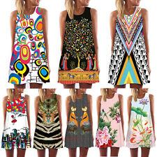 Vintage Boho Women's Summer Sleeveless Beach Short Mini Dress Sundress Tank Tops
