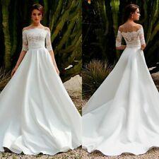 A-line Wedding Gown For Women Elegant Lace Appliques Brides Dresses Off-shoulder