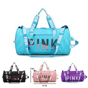 灬Pink Gym Duffle Bag Waterproof Large Sequins Bags Travel Duffel Bags with Shoes