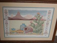 Framed Wool Needlepoint CACTUS MOUNTAIN Southwestern Dessert 17 x 23 JCA New