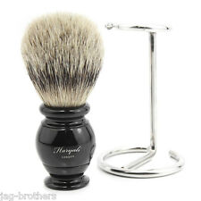 SILVER TIP BADGER HAIR SHAVING BRUSH WITH BLACK KNOT WITH STEEL STAND