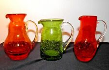 """CRACKLE GLASS 3  Viintage Small Pitchers Creamers 3 +"""" - 4. 25"""" Red Orange Green"""