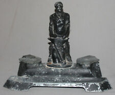 ANTIQUE SOVIET RUSSIAN METAL STATUETTE DOUBLE INKWELL BLACKSMITH
