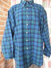 Vintage Pendleton Plaid Shirt Size XL 100% Wool, Blues & Greens