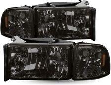 For 94-01 Dodge Ram 1500/2500/3500 HeadLights Head Lamps  Smoked  LH+RH 2PCS