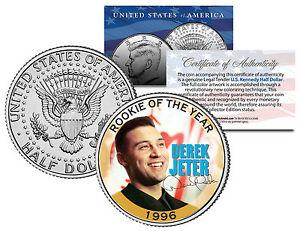 """DEREK JETER 1996 JFK KENNEDY HALF DOLLAR! SIGNATURED """"ROOKIE OF THE YEAR"""" COIN"""