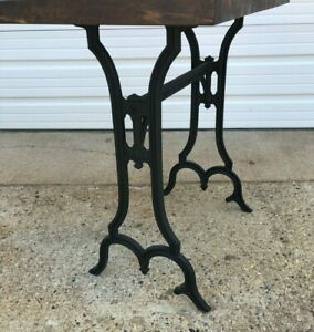 Vintage Table Reclaimed Cast Iron Base Butcher Block Top One of a Kind