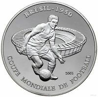 2001 CHAD   1000 Francs   Football World Cup in Brazil 1950   Proof Silver .999