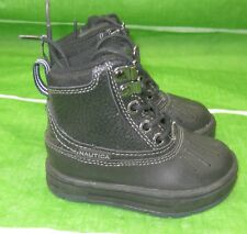 Nautica Mr815B Black Waterproof Hi Top Kid Toddler Lace Up Leather Boot Size 5C