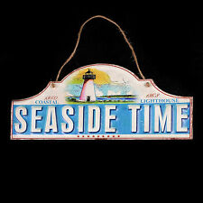 Metal Seaside Time Sign Lighthouse Nautical Decor Rustic Jute Hang New 16x8 in.